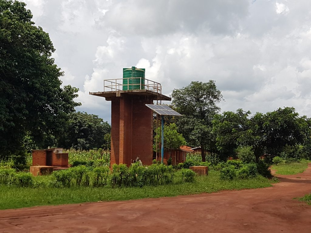 A water pump being powered by solar energy in Malawi
