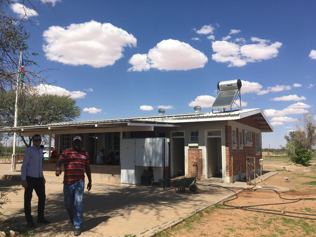 Solar facility installed on the roof of a health center in Namibia