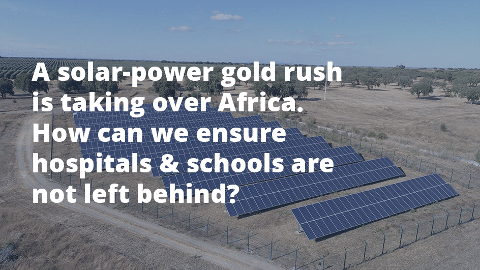 Solar field in Africa. solar power may be the solution to electrify africa. KOIS wants to enable its scale up through impact investing.