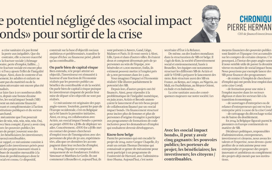 L'Echo: The neglected potential of social impact bonds as a way out of the crisis